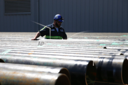Steel pipes at plant