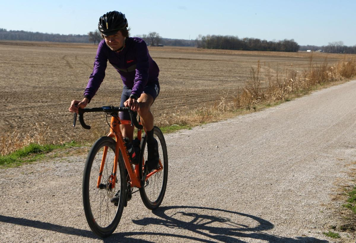 Luke Davis bikes east on the Katy Trail