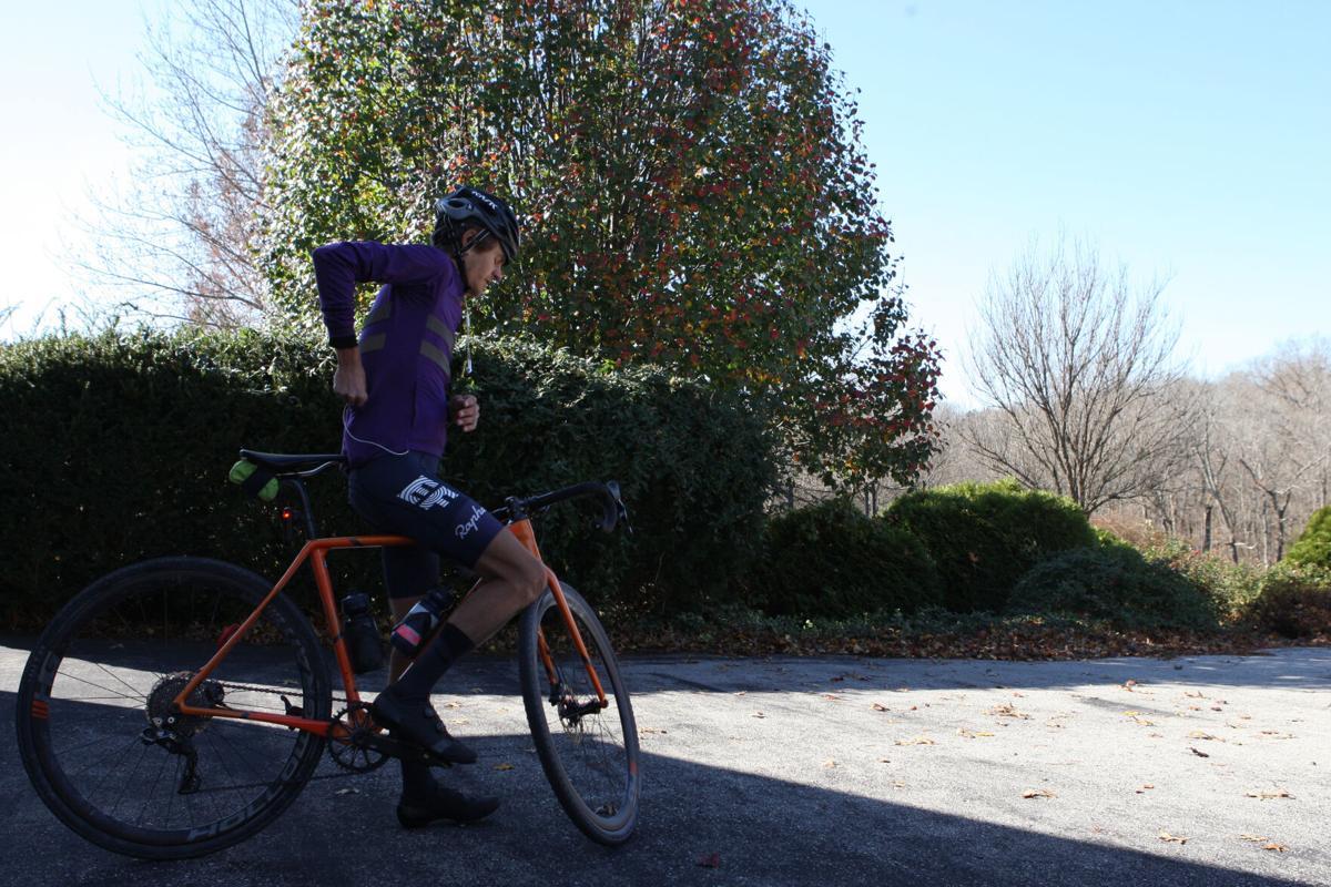 Luke Davis prepares for a bike ride