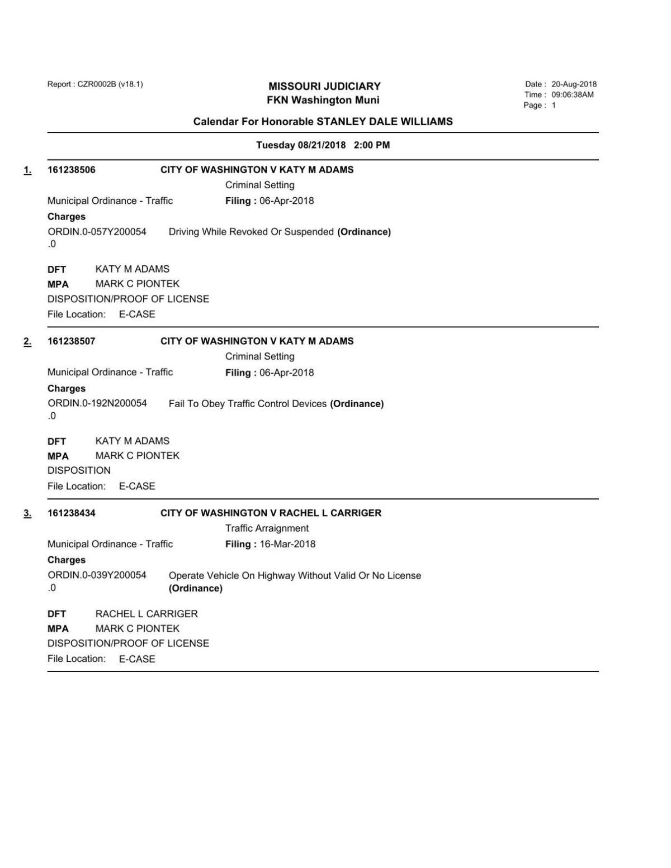 WASHINGTON MUNICIPAL DOCKET 8-21-18