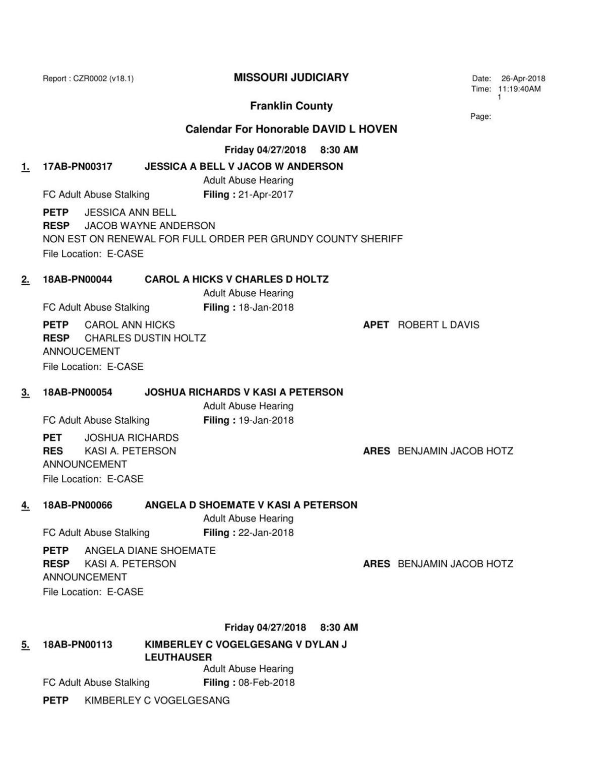 4-27-18 DIVISION VI ADULT ABUSE DOCKET