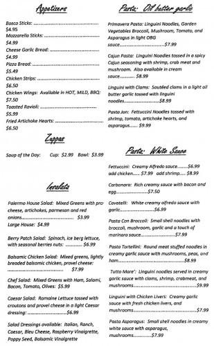 Cafe Palermo Menu Page 1