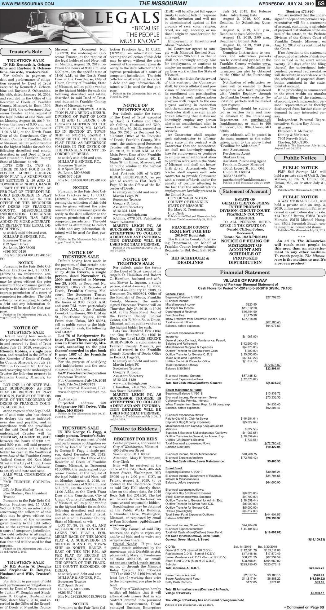 Legals/Tax Certificate Sale July 24