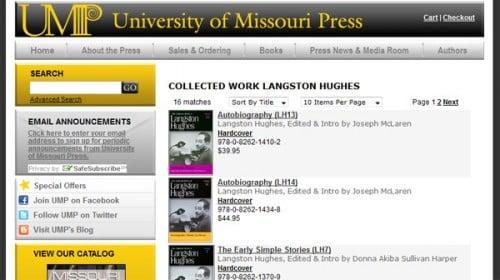 University of Missouri Press homepage