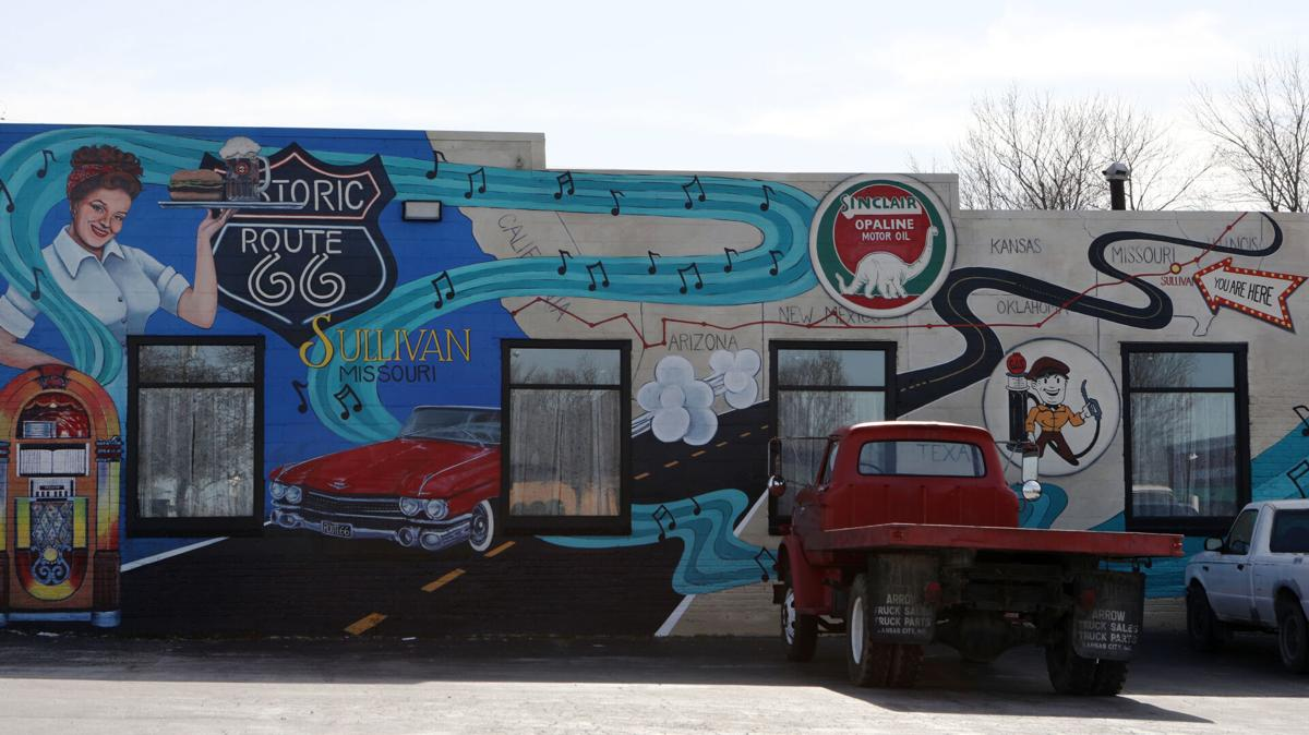 A Route 66-themed mural in Sullivan