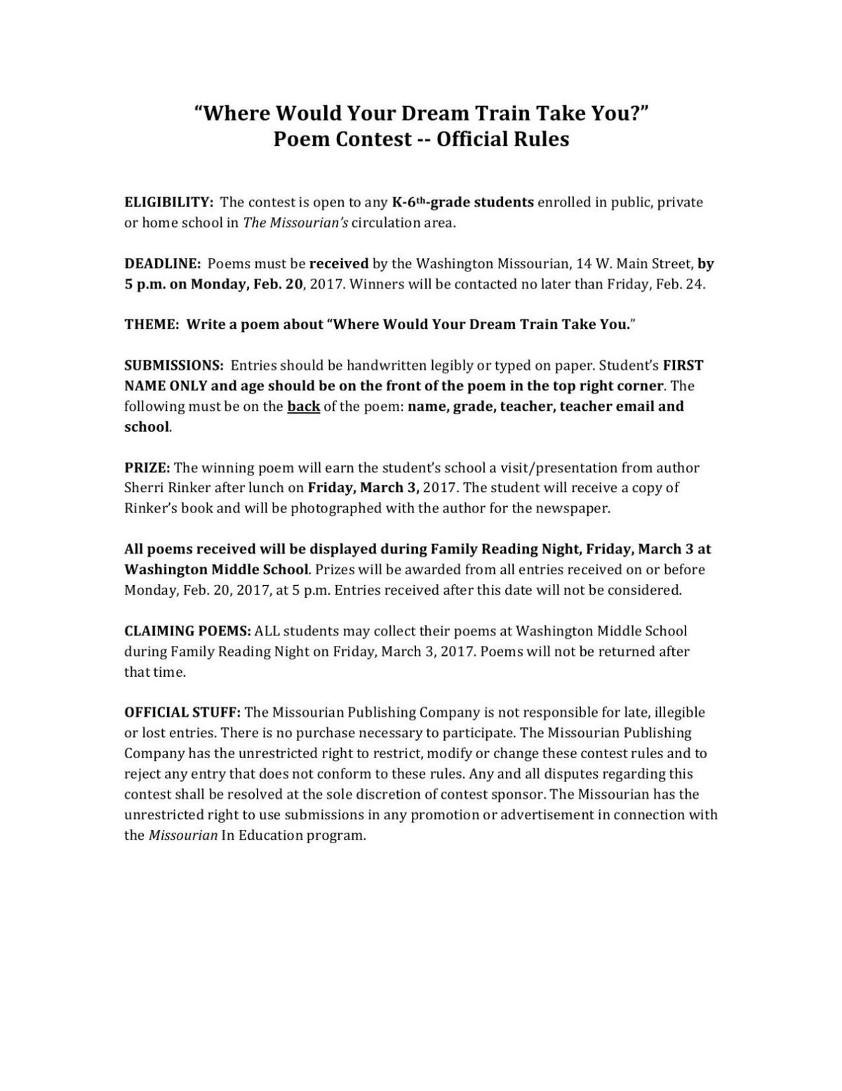Poetry Contest Rules
