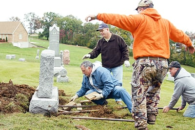 Leveling a Headstone in Union Cemetery