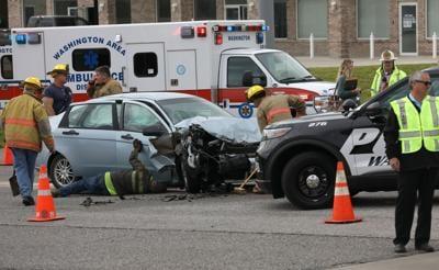 Vehicle crash at High Street and Highway 100