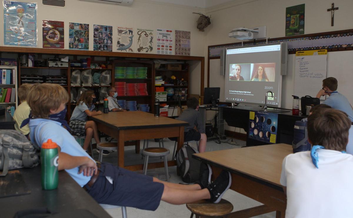 LIz Massey's seventh grade class watches