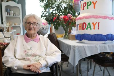 Miriam Weseman photographed on her 105th birthday