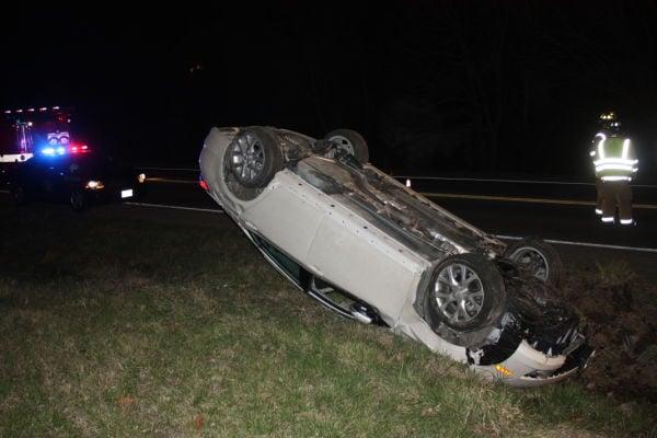 Car Overturns on Highway 47