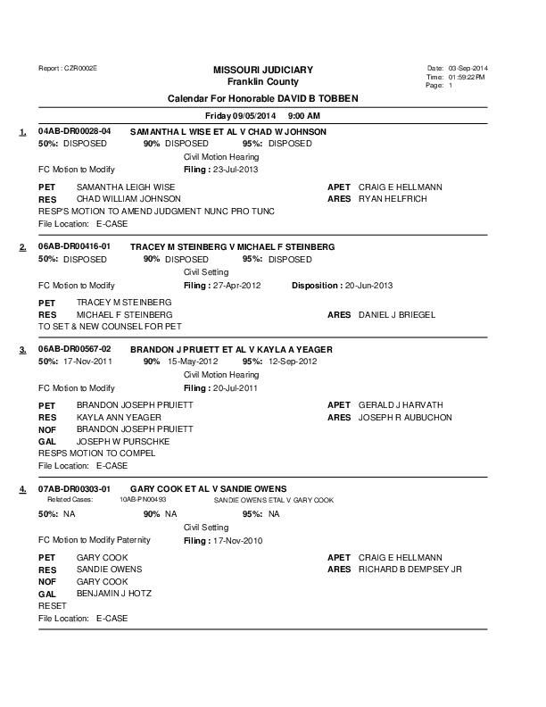 Sept 5 Franklin County Associate Circuit Court Division V