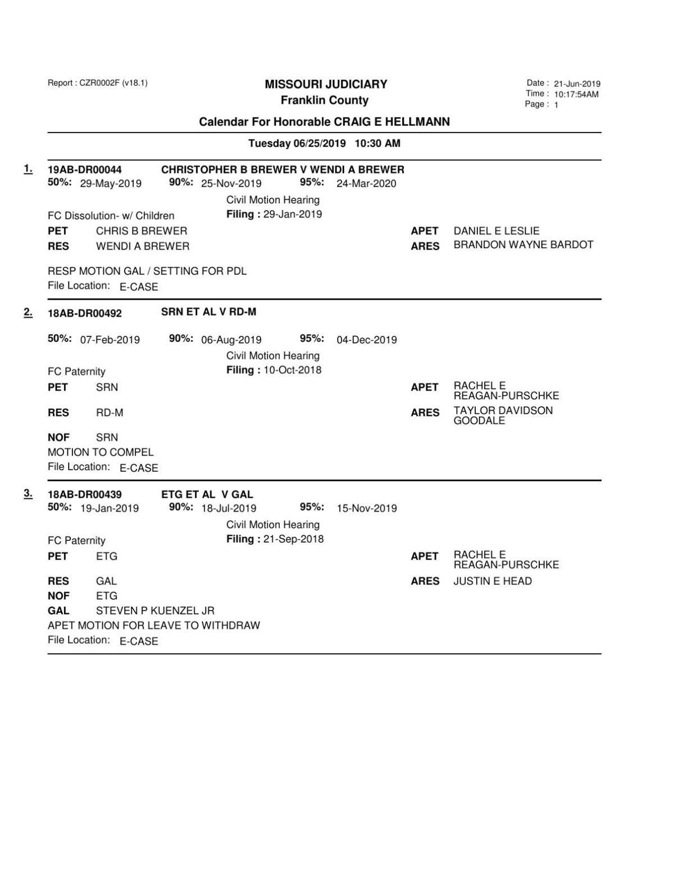 Div I 06 25 19 Law Day Docket pt4 | Court Dockets