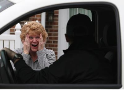 Kim Strubberg reacts in surprise