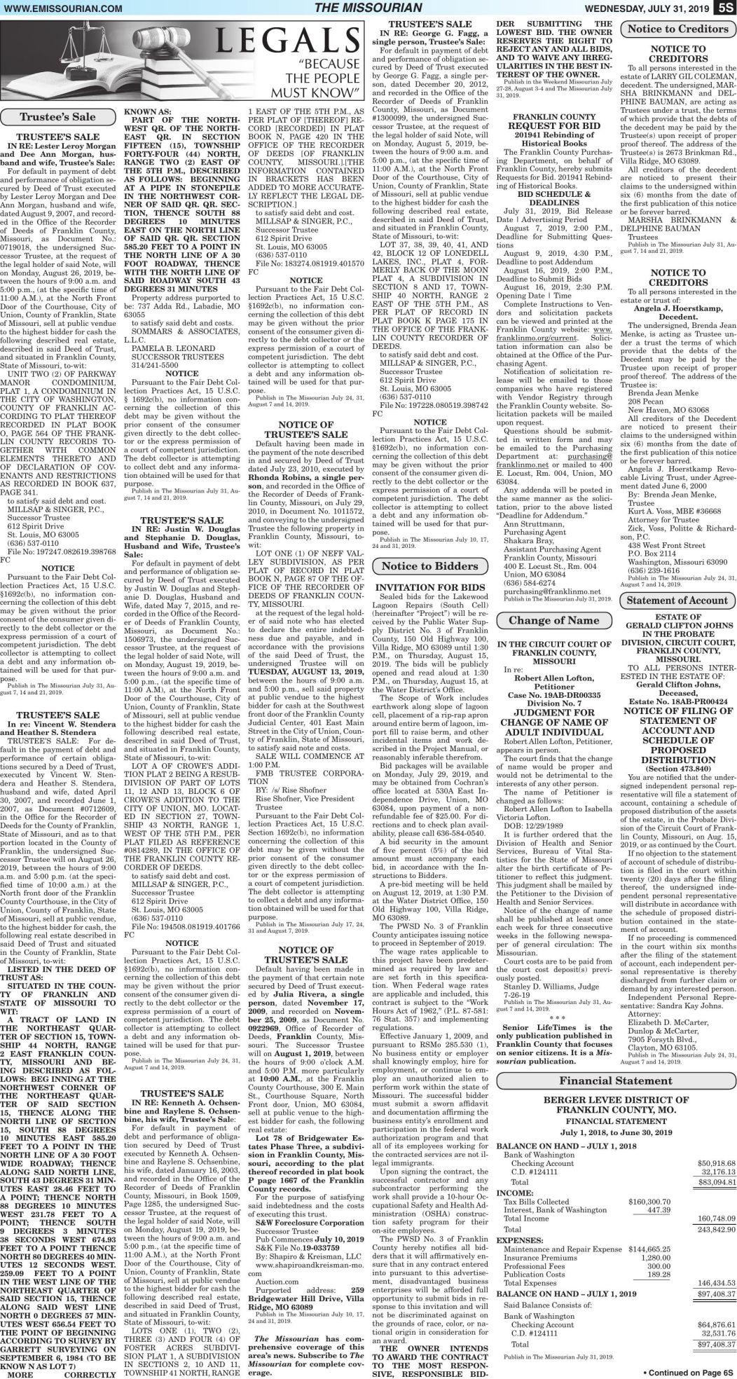 Legals/Tax Certificate Sale 07.31.19