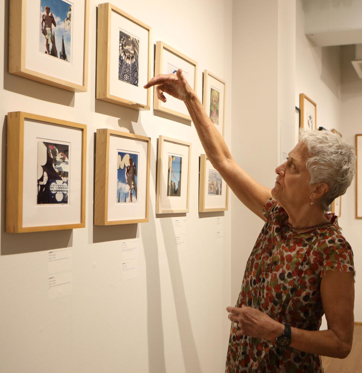 Sally Dill points to her artwork