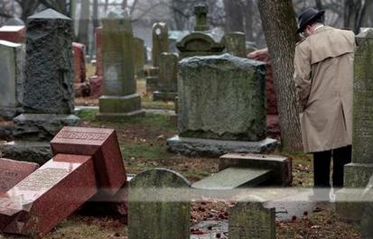 Toppled headstones in Chesed Shel Emeth Cemetery