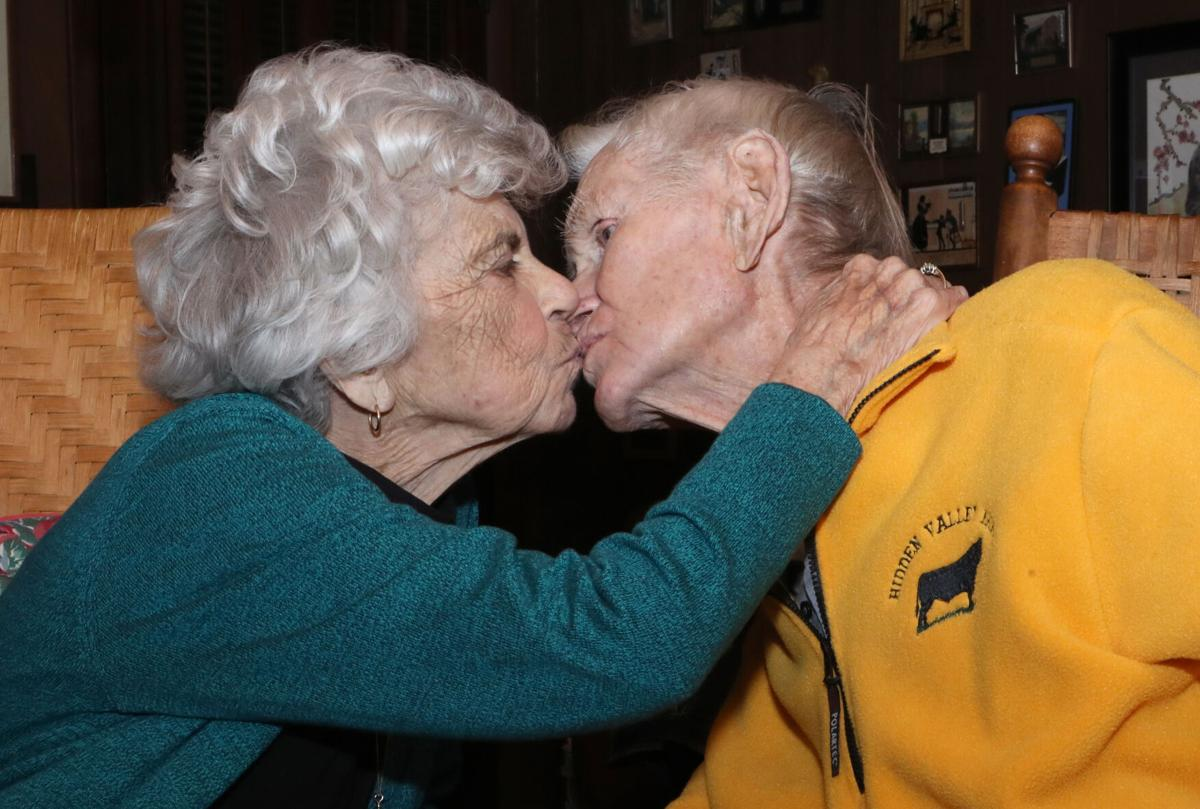 Dorothy and Tracy Brown kiss