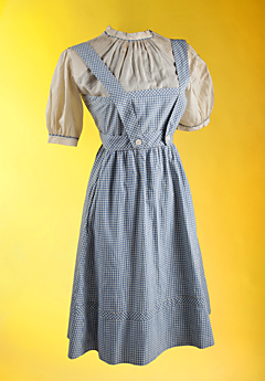 "Faded blue pinafore dress Judy Garland wore in ""The Wizard of Oz"""