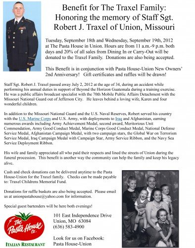 Benefit to Honor the Memory of Staff Sgt. Traxel