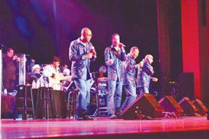 <p>The Four Tops, Abdul Fakir, Ronnie NcNeir, Lawrence Payton, Jr. and Harold Bonhart, perform Saturday at the Emporia Greensville Performing Arts Center.</p>