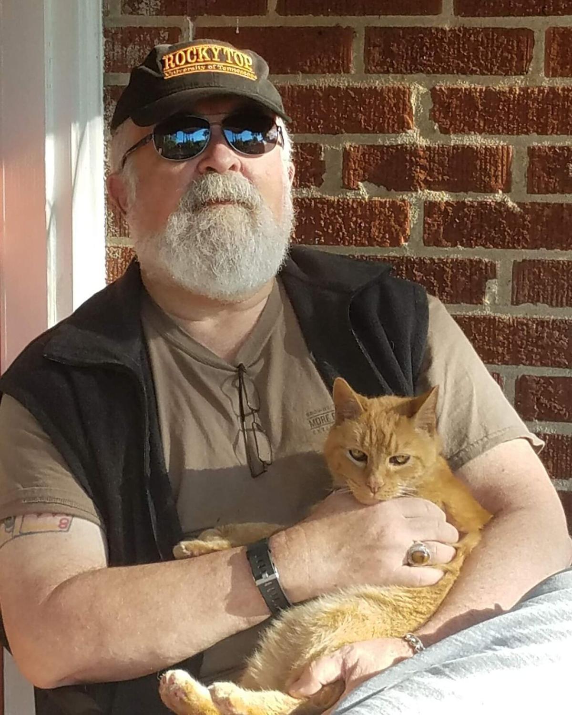 Jim Nesbitt with cat