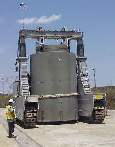 Used nuclear plant fuel in dry casks for storage