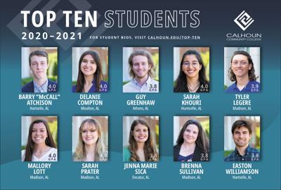 Calhoun announces Top 10 students for 2020-2021