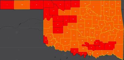 COVID-19 Oklahoma map for 8.13.20