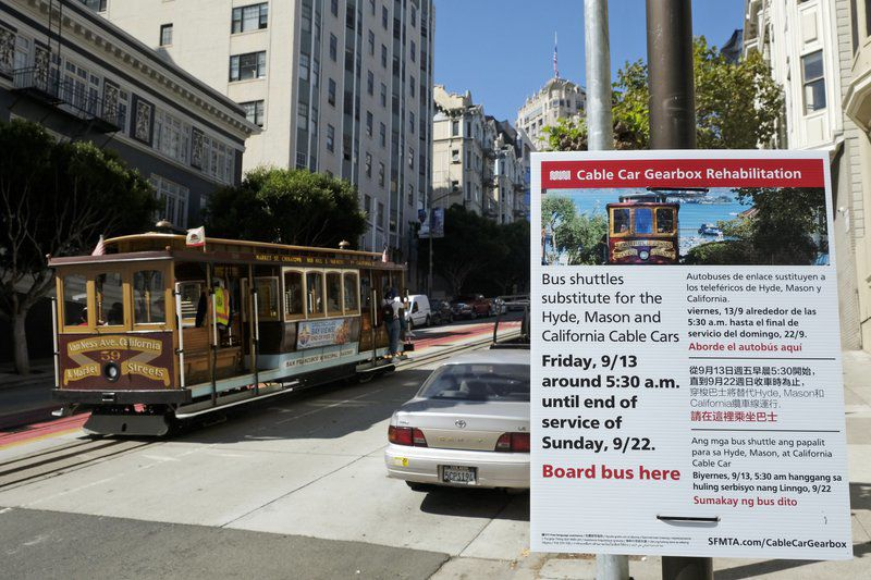 San Francisco's iconic cable cars to shut down for repairs