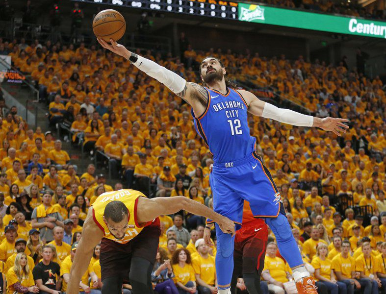 save off 53788 504fa Rubio s triple-double leads Jazz past Thunder 115-102. Oklahoma City ...