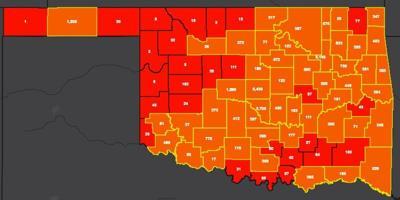 COVID-19 Oklahoma map for 8.3.20
