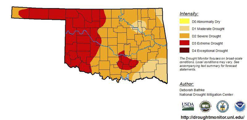 Oklahoma Drought Map Oklahoma still in drought, burn ban still in place | State  Oklahoma Drought Map