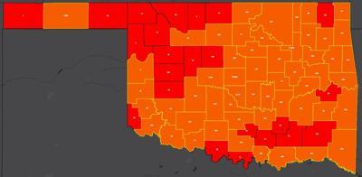 COVID-19 Oklahoma map for 8.10.20
