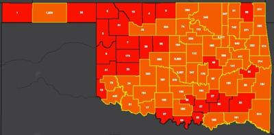 COVID-19 Oklahoma map for 7.30.20