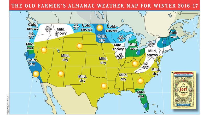 Farmers almanac releases extended forecast for oklahoma for Winter 2018 predictions farmers almanac