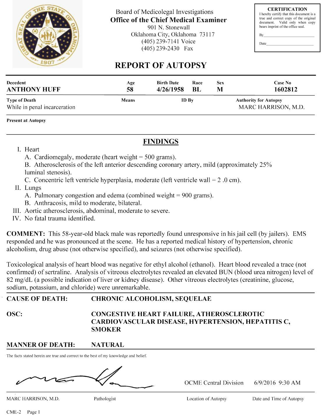 Page 2 of an autopsy report on Anthony Huff | | enidnews.com