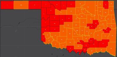 COVID-19 Oklahoma map for 7.28.20