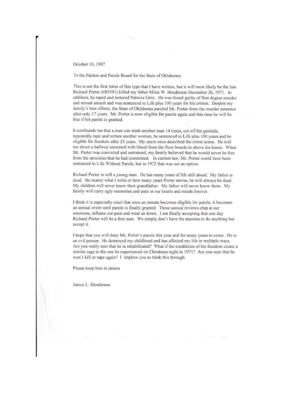 letter to parole board
