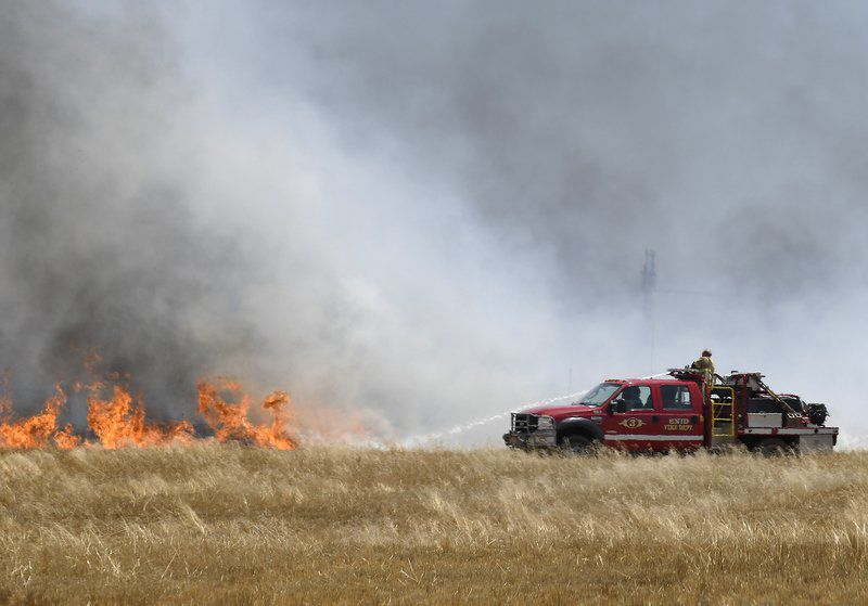 Firefighters tackle wheat stubble fire