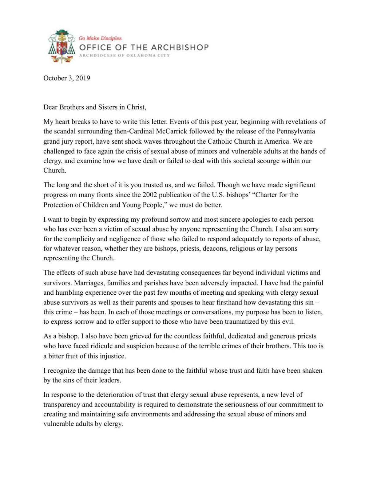 Archbishop Coakley Letter to the Faithful