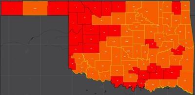 COVID-19 Oklahoma map for 8.4.20