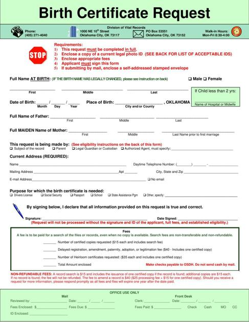 birth certificate request | | enidnews