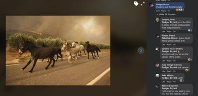Fairview firefighter makes joke on photo of animals running from wildfire