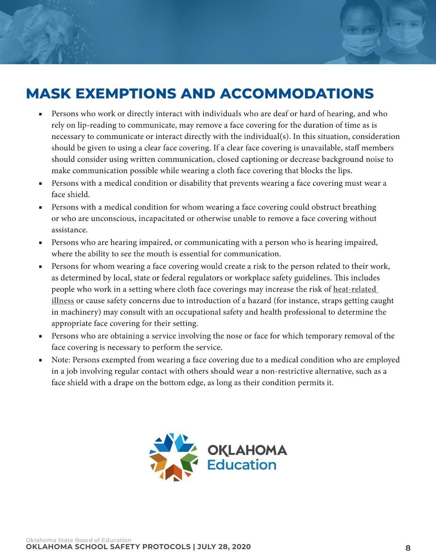 Mask exemptions