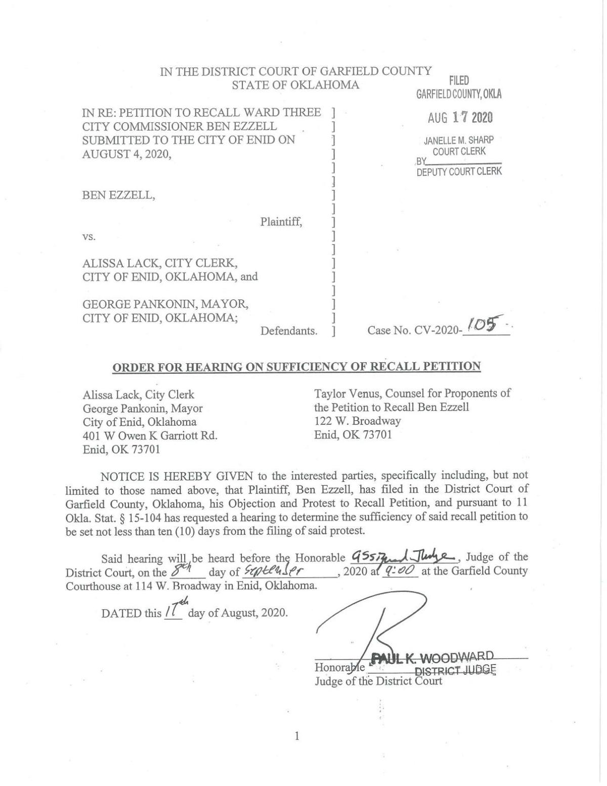 PDF of Ben Ezzell's filed protest, with order and exhibits