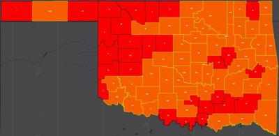 COVID-19 Oklahoma map for 7.23.20