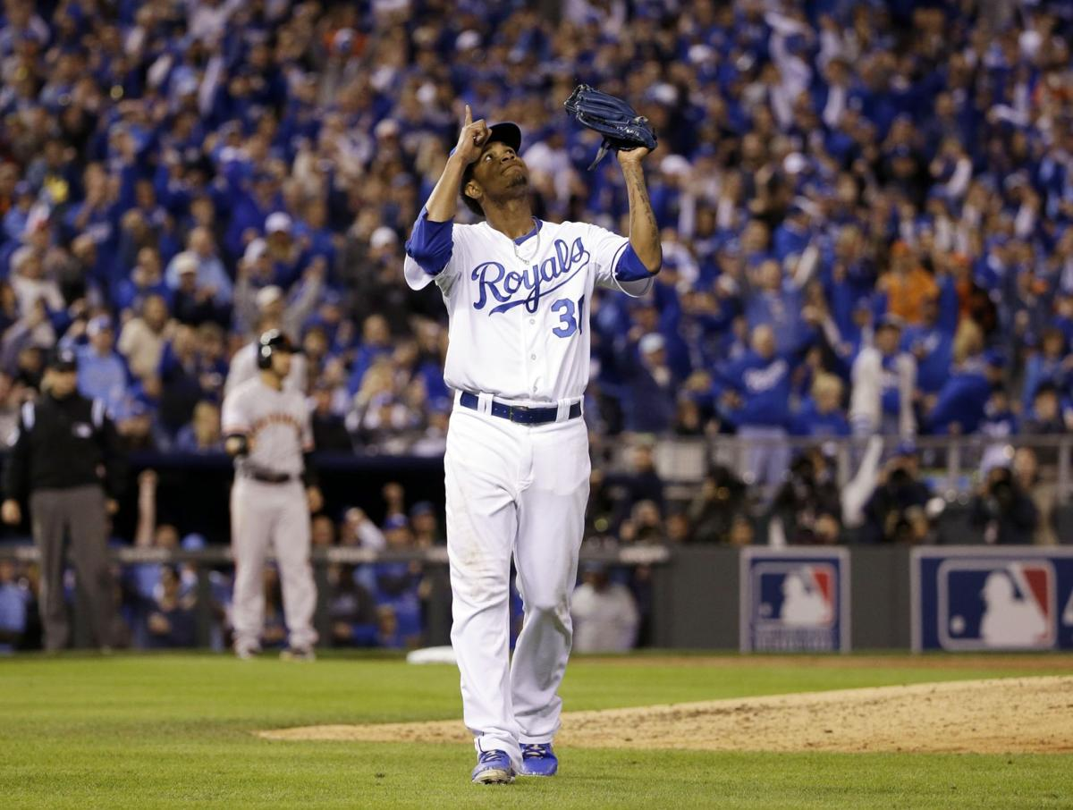 ce61620bb Kansas City Royals pitcher Yordano Ventura reacts after getting San  Francisco Giants  Buster Posey to ground into an inning ending