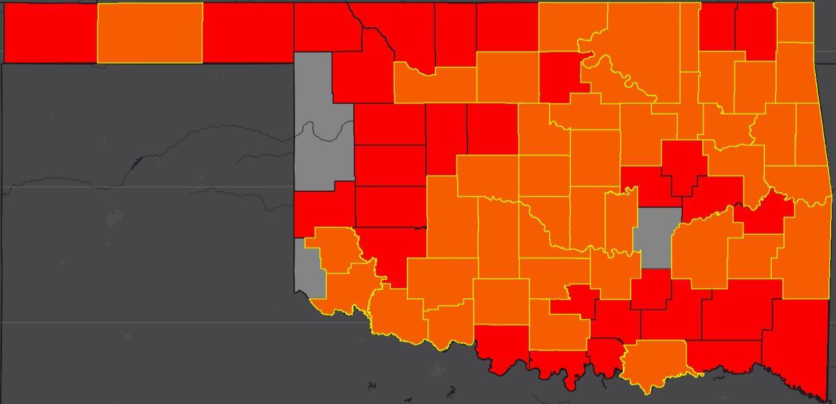 COVID-19 Oklahoma map for 5.20.20