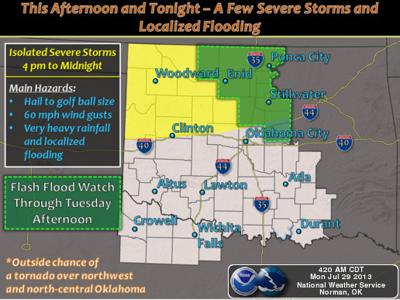 UPDATE: 14 NW Oklahoma counties in severe T-storm watch